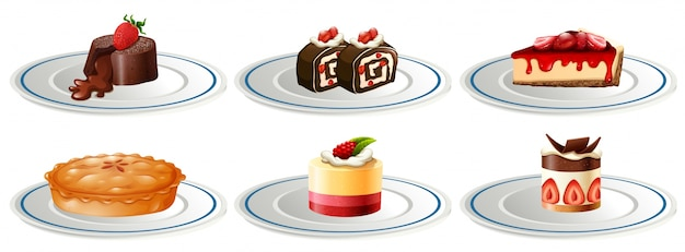 Different kinds of desserts on plates\ illustration