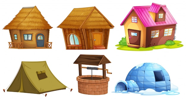 Different kinds of shelters illustration Free Vector