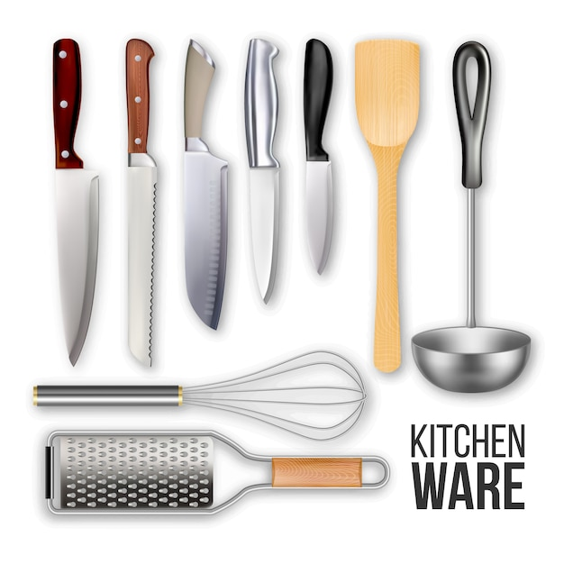 Different knives and cook kitchen ware set Premium Vector