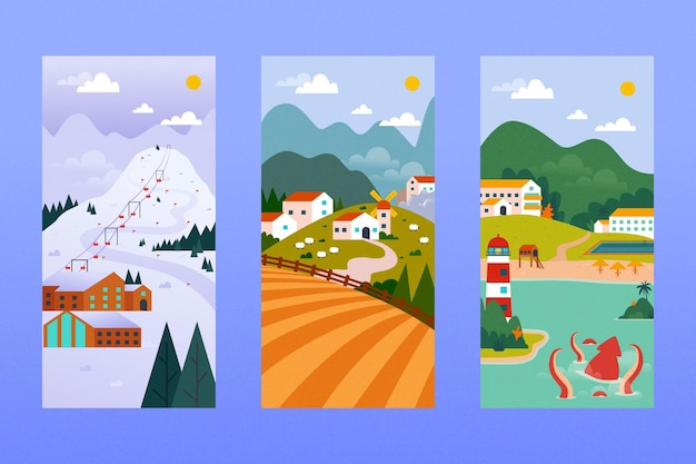 Different landscape collection Free Vector
