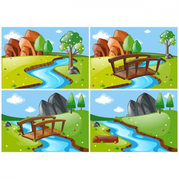 Different landscape scenes with a river