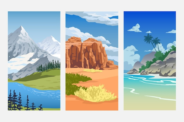 Different landscape with various nature biomes Free Vector