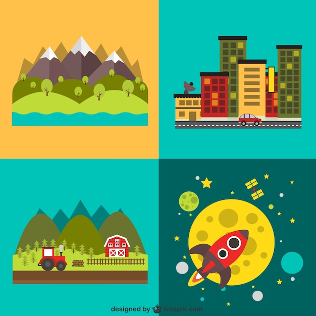 Different landscapes and a rocket Free Vector