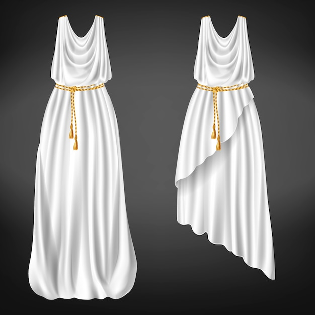 Different length, greek chitons of white wool, linen or silk fabric tied with golden rope belt Free Vector