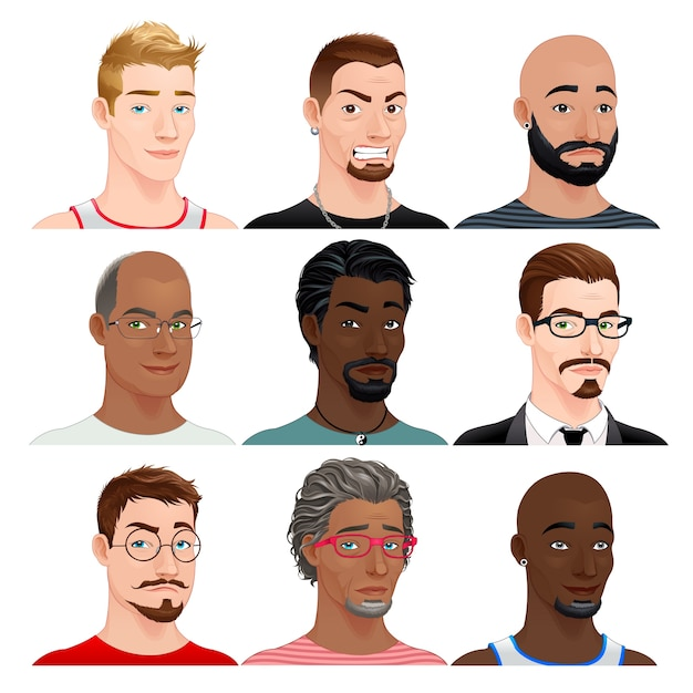 Different male avatars Free Vector