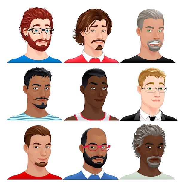 Different men avatars Free Vector