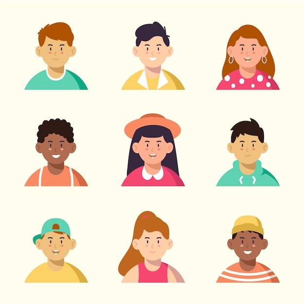Different men and women with nice avatars Free Vector