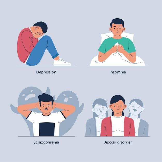 Концепция различных психических расстройств Бесплатные векторы