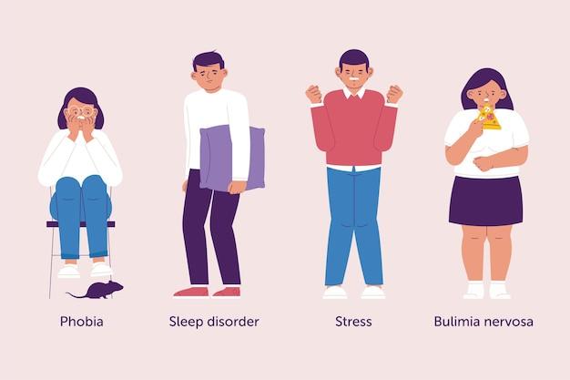 Illustrazione di diversi disturbi mentali Vettore gratuito