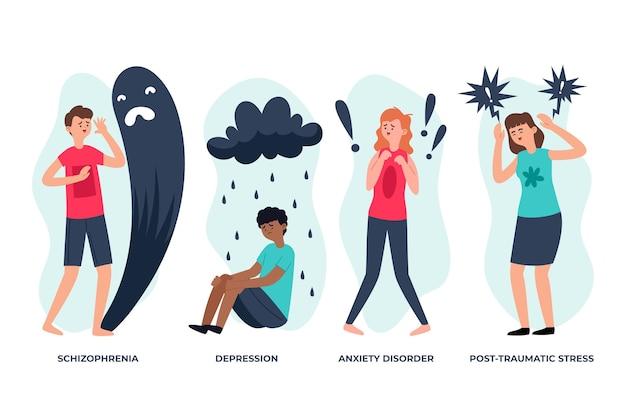 Diversi disturbi mentali Vettore gratuito