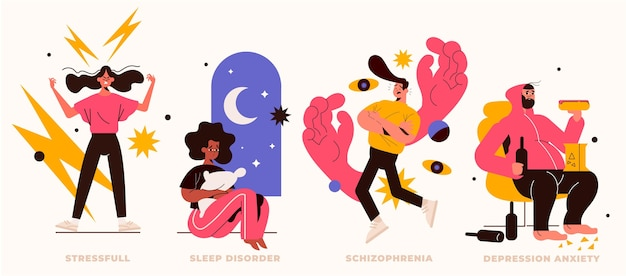 Different mental disorders Free Vector