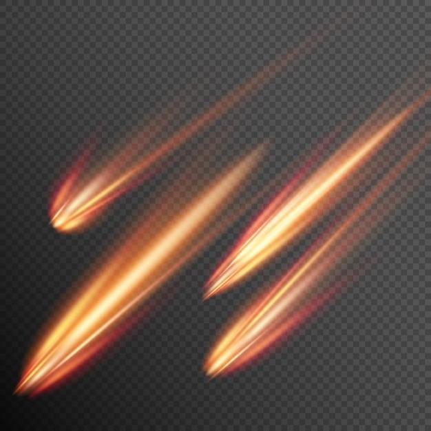 Different meteors, comets and fireballs. Premium Vector