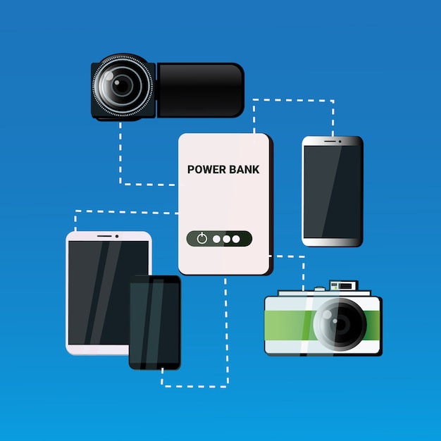Different mobile gadgets charging from power bank smart phone portable battery concept Premium Vector