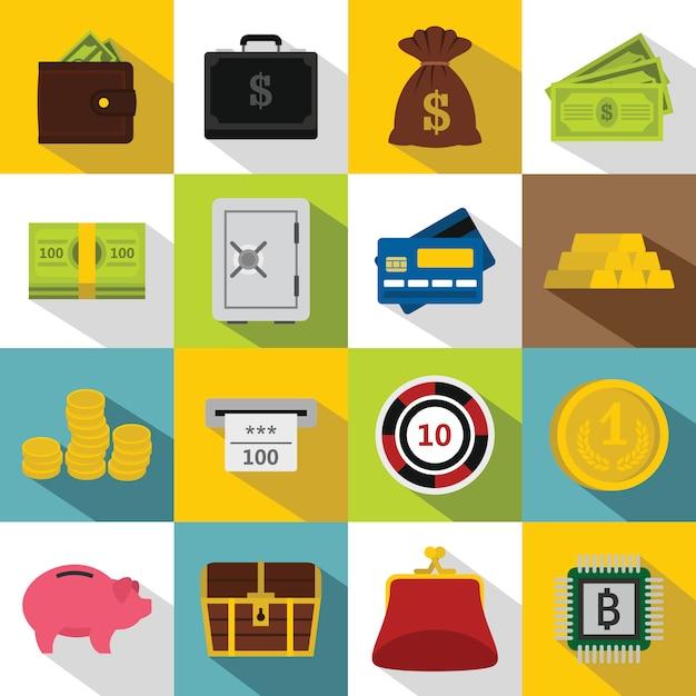 Different money icons set, flat style Premium Vector