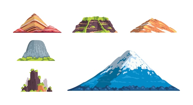 異なる山の風景は、漫画のイラストを分離しました。自然の山のシルエット要素se。山岳地帯の旅行やハイキング。 Premiumベクター