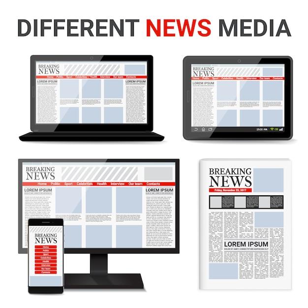 Different news media set Free Vector