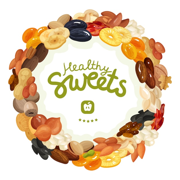 Different nuts and dried fruits Free Vector