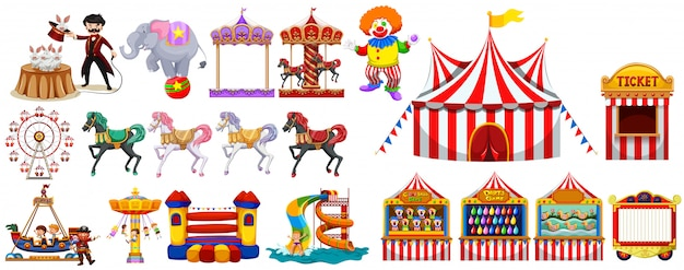 Different objects from the circus Free Vector