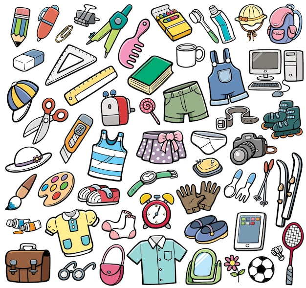 Different objects set Premium Vector