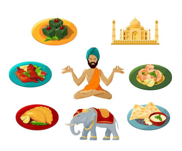 Different objects of traditional indian culture. Premium Vector