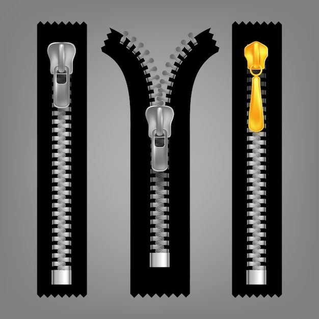 Different open and closed zippers Vector | Premium Download