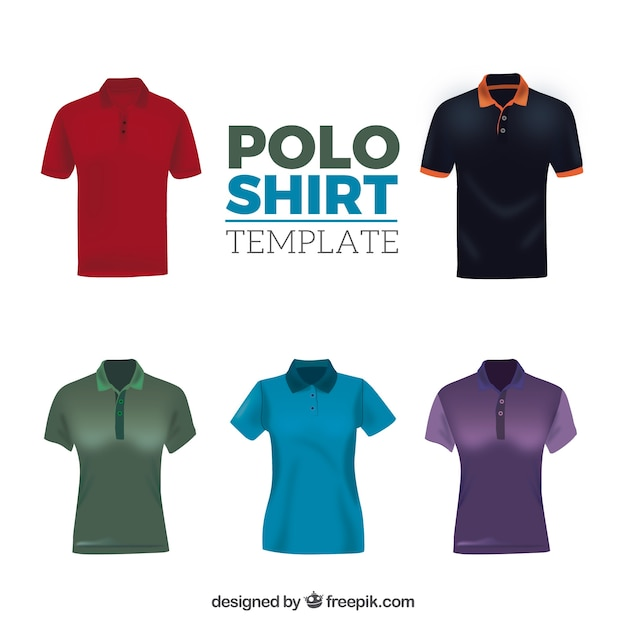 Different patterns male and female polo shirt collection Free Vector