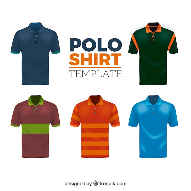 Different patterns male polo shirt collection Free Vector