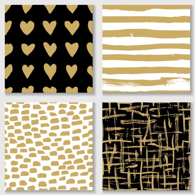 Different Patterns With Golden Elements Vector Free Download Amazing Different Patterns