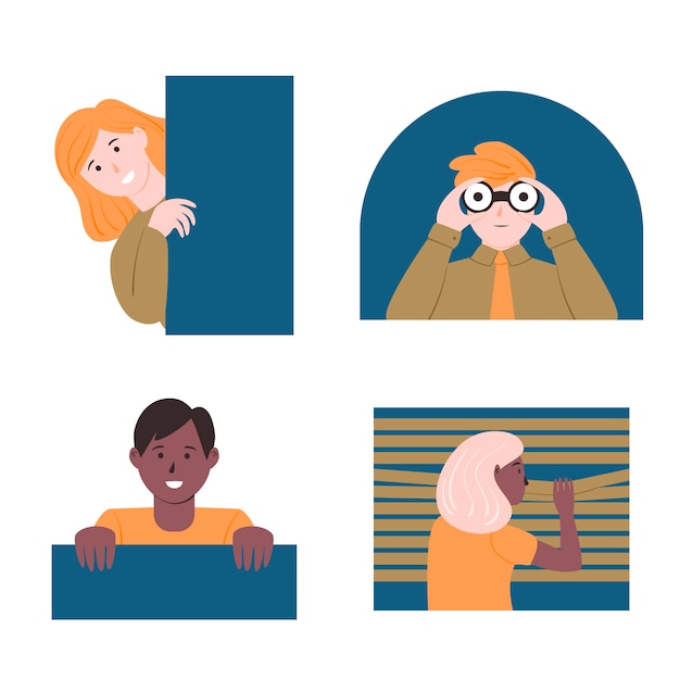 Different peeping people collection Free Vector