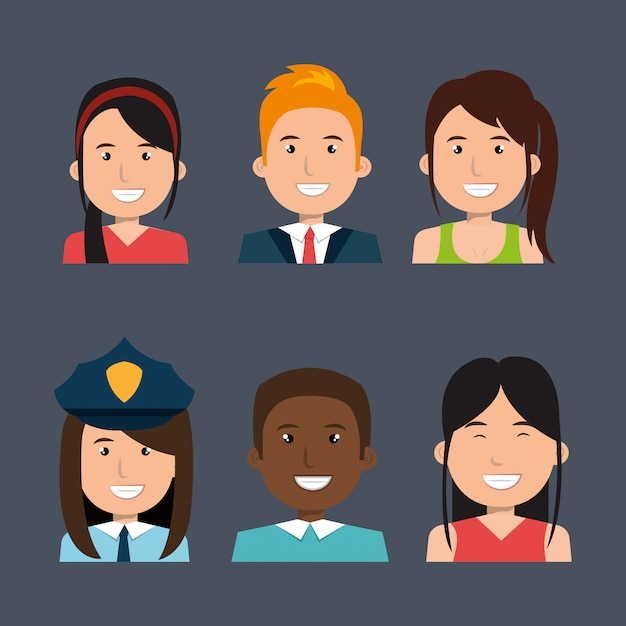 Different people avatar pack Free Vector