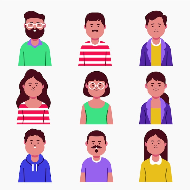 Different people avatars collection Free Vector