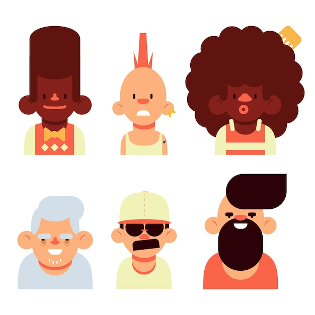 Different people avatars pack Free Vector