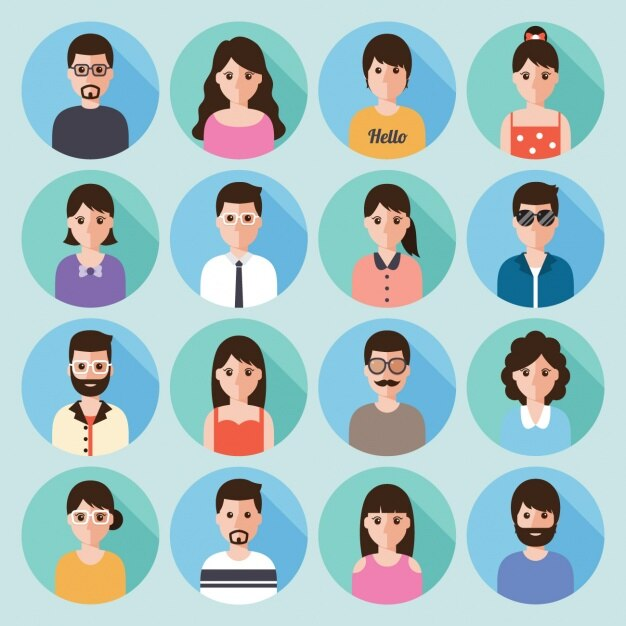 Different people in bubbles Free Vector