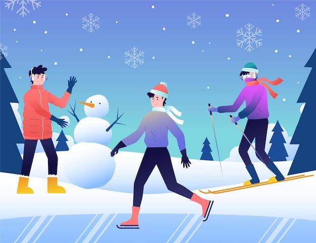 冬の野外活動をしているさまざまな人々 無料ベクター