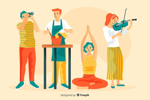 Different people enjoying their hobbies Free Vector