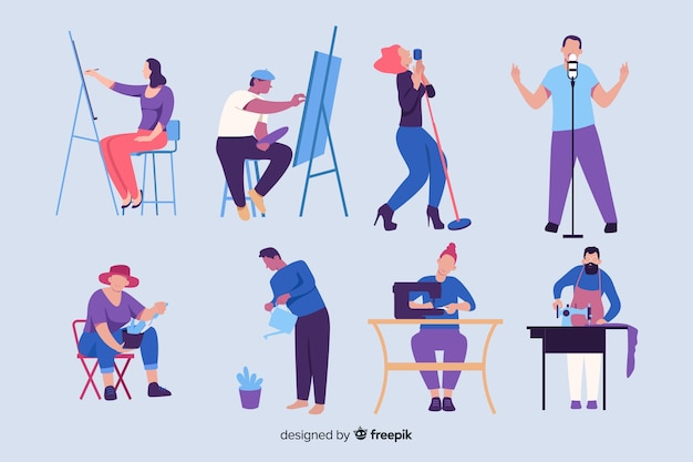 Different people enjoying their hobbis Free Vector