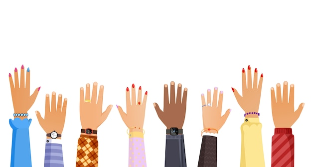 Different people hands rising up illustration. teamwork, election, voting or education concept. Premium Vector
