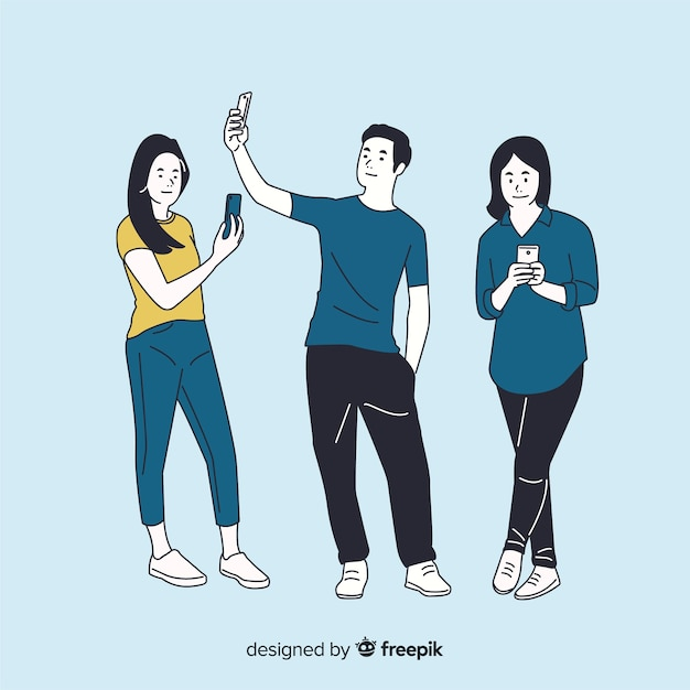 Different people holding smartphones in korean drawing style Free Vector