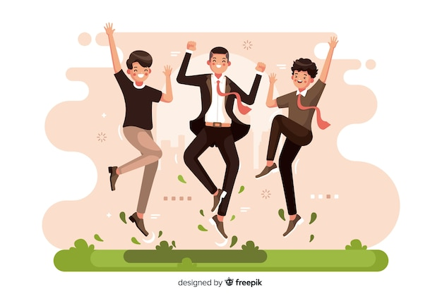 Different people jumping together illustrated Free Vector