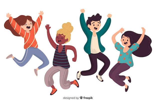 Different people jumping together Free Vector