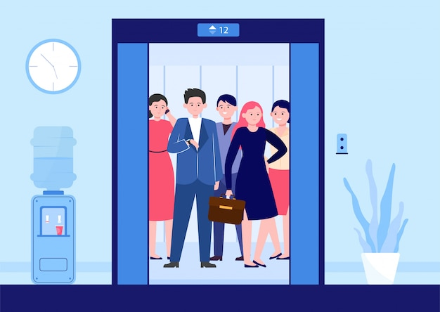 Different people lifting on elevator Free Vector