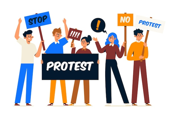 Different people participating at a protest Free Vector