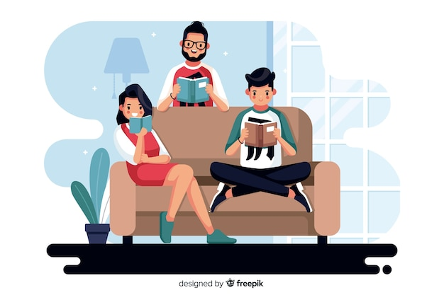 Different people reading together Free Vector