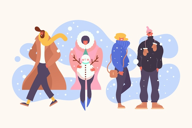 Different people wearing winter clothes Premium Vector
