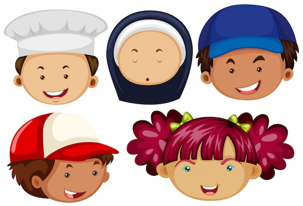 Different people with happy faces Premium Vector