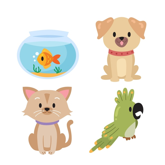Different pets collection Free Vector