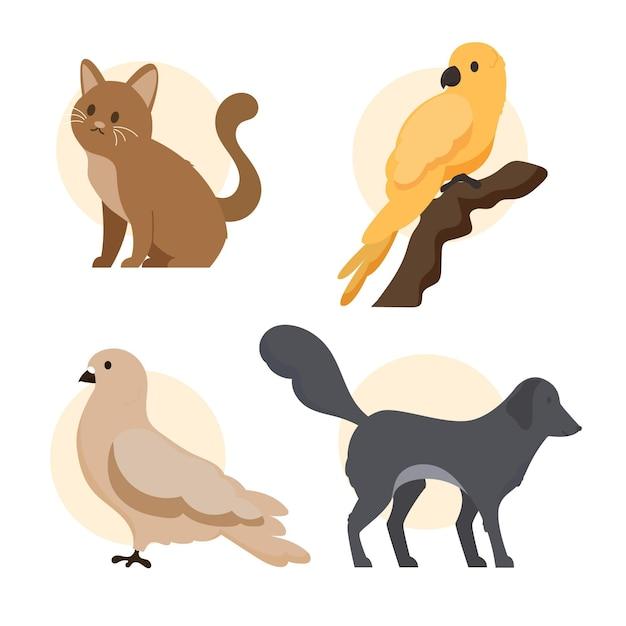 Concetto di diversi animali domestici Vettore gratuito