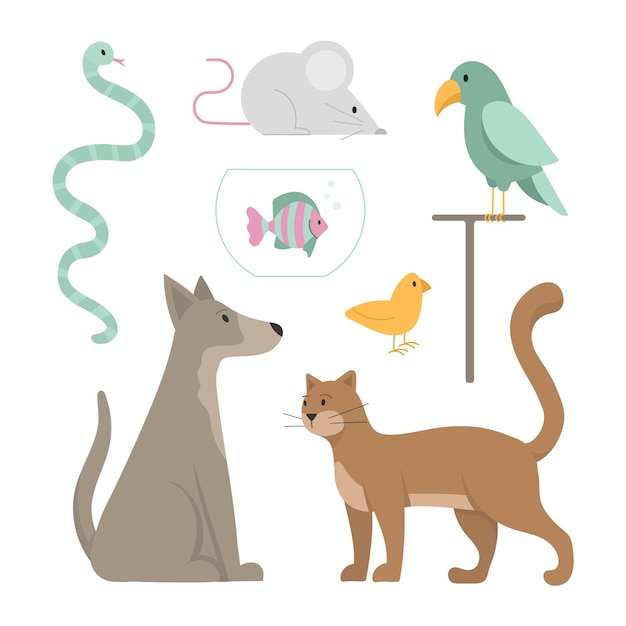Different pets conept Free Vector