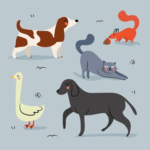 Concetto di illustrazione di diversi animali domestici Vettore gratuito