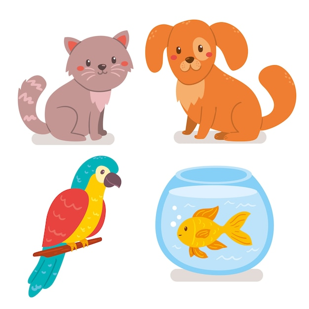 Different pets illustration pack Free Vector